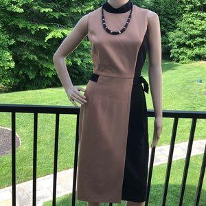 WHBM NWT Tan/black color block sleeveless dress